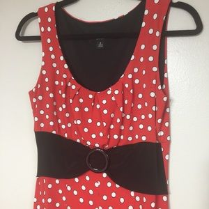 PERCEPTIONS | Red White Polka Dot Dress